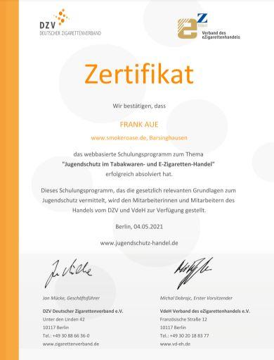Smokeroase Jugendschutz Zertifikat